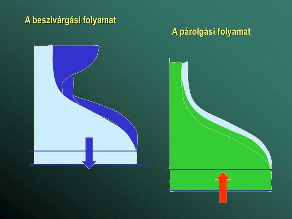 A beszivárgási folyamat A párolgási folyamat