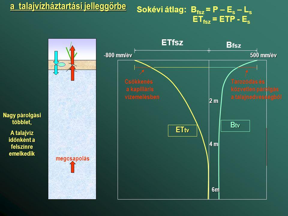 a talajvízháztartási jelleggörbe Sokévi átlag: B fsz = P – E s – L s ET fsz = ETP - E s B tv ET tv 500 mm/év B fsz ETfsz -800 mm/év 2 m 4 m 6m Tározód