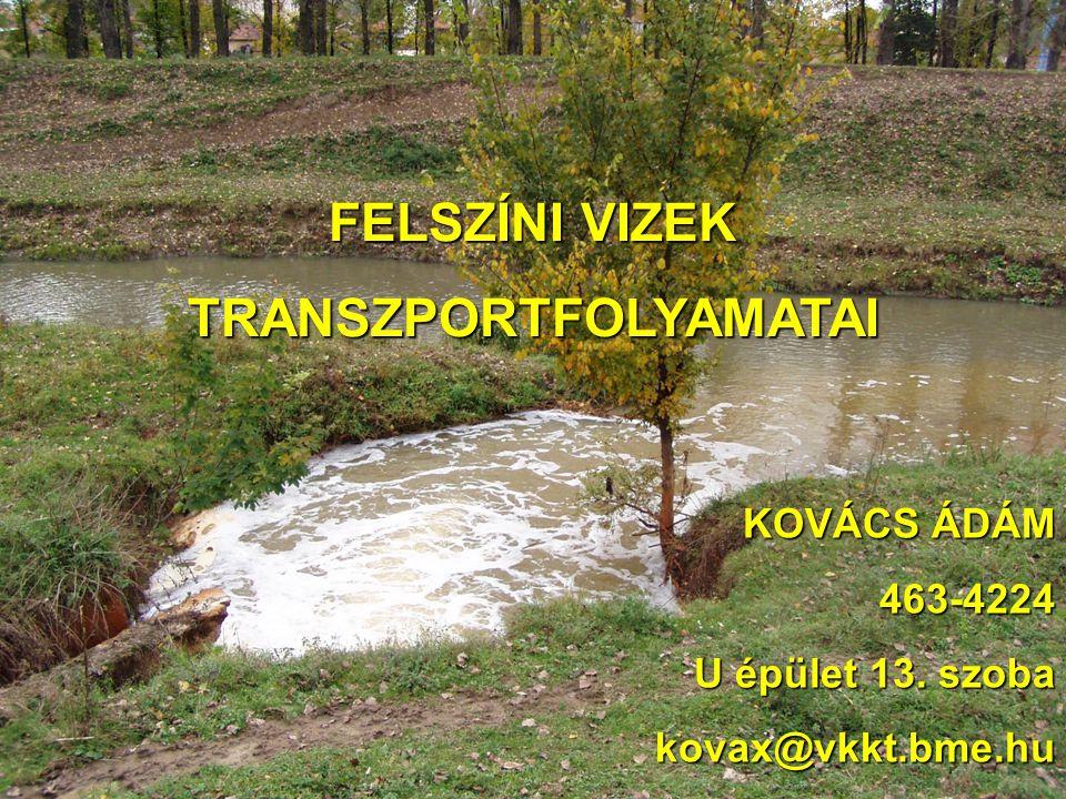 FELSZÍNI VIZEK TRANSZPORTFOLYAMATAI KOVÁCS ÁDÁM 463-4224 U épület 13. szoba kovax@vkkt.bme.hu