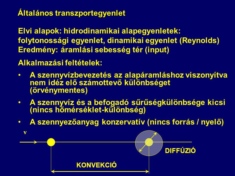 Általános transzportegyenlet Alkalmazási feltételek: A szennyvízbevezetés az alapáramláshoz viszonyítva nem idéz elő számottevő különbséget (örvénymen