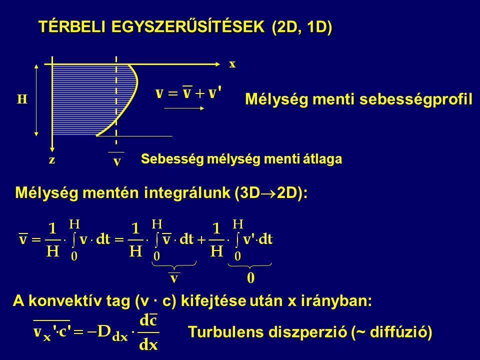 TÉRBELI EGYSZERŰSÍTÉSEK (2D, 1D) TÉRBELI EGYSZERŰSÍTÉSEK (2D, 1D) A konvektív tag (v · c) kifejtése után x irányban: Mélység mentén integrálunk (3D 