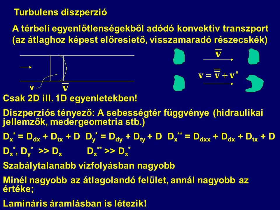 Turbulens diszperzió A térbeli egyenlőtlenségekből adódó konvektív transzport (az átlaghoz képest előresiető, visszamaradó részecskék) Csak 2D ill. 1D