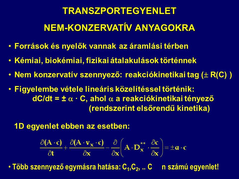 TRANSZPORTEGYENLET NEM-KONZERVATÍV ANYAGOKRA Források és nyelők vannak az áramlási térben Kémiai, biokémiai, fizikai átalakulások történnek Nem konzer