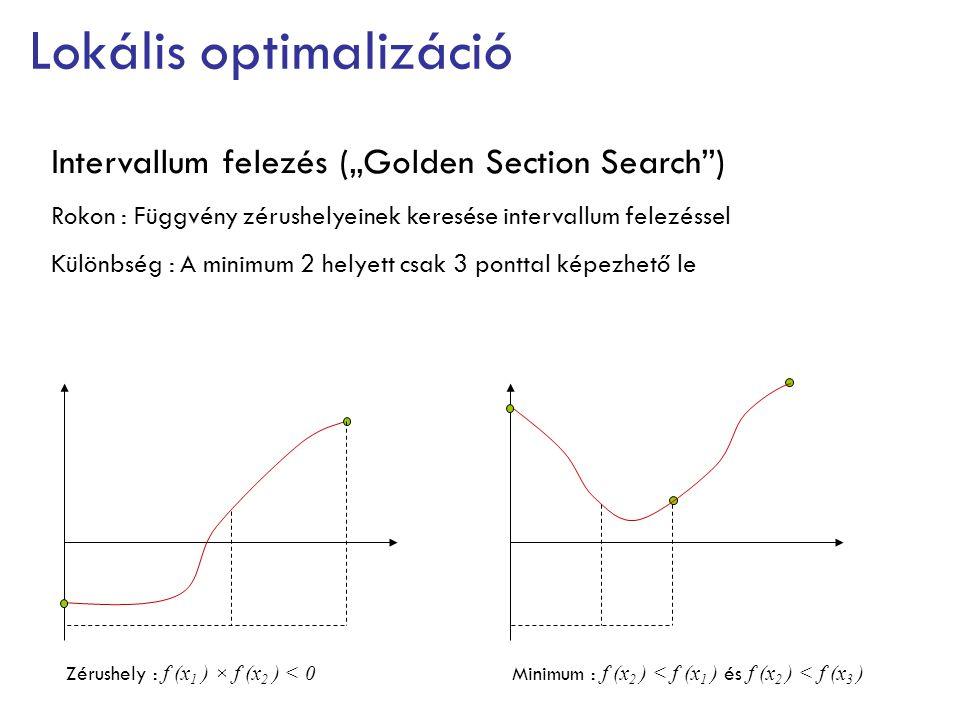 """Lokális optimalizáció Intervallum felezés (""""Golden Section Search"""") Rokon : Függvény zérushelyeinek keresése intervallum felezéssel Különbség : A mini"""