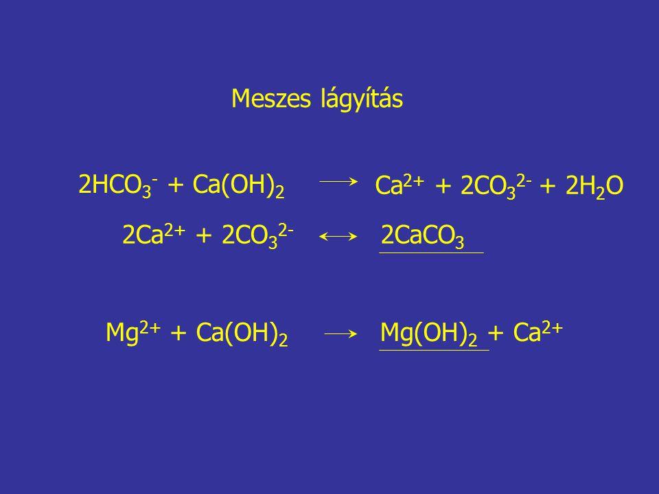 2HCO 3 - + Ca(OH) 2 Ca 2+ + 2CO 3 2- + 2H 2 O 2Ca 2+ + 2CO 3 2- 2CaCO 3 Mg 2+ + Ca(OH) 2 Mg(OH) 2 + Ca 2+ Meszes lágyítás