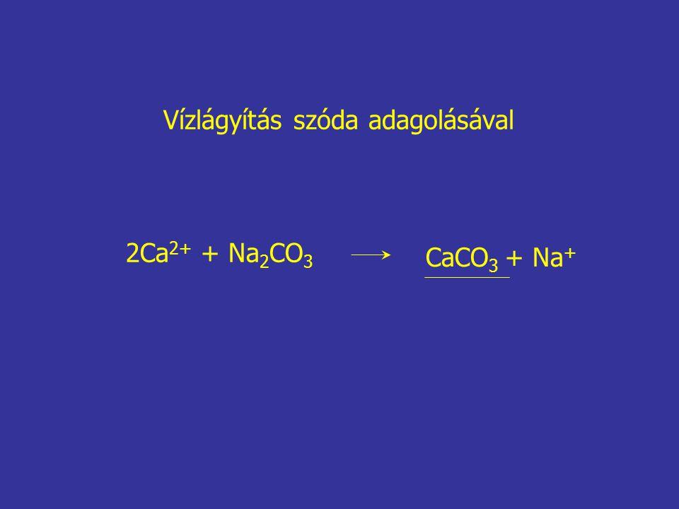 2Ca 2+ + Na 2 CO 3 CaCO 3 + Na + Vízlágyítás szóda adagolásával