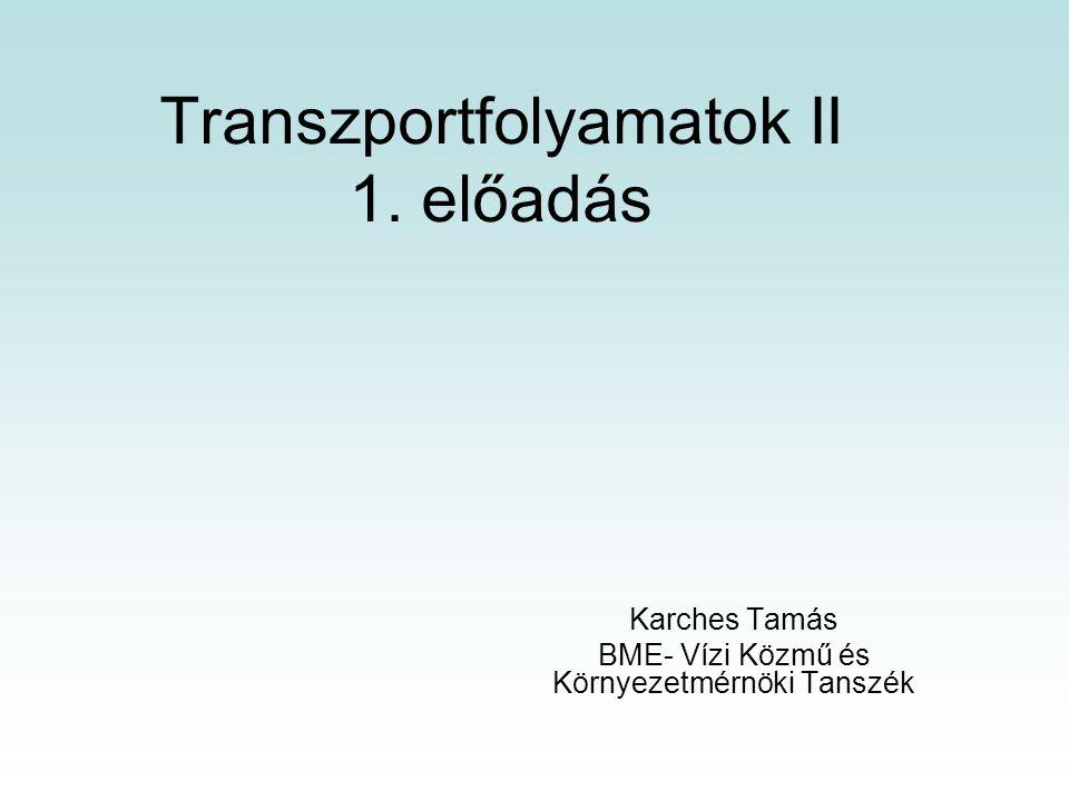 Transzportfolyamatok II 1. előadás Karches Tamás BME- Vízi Közmű és Környezetmérnöki Tanszék