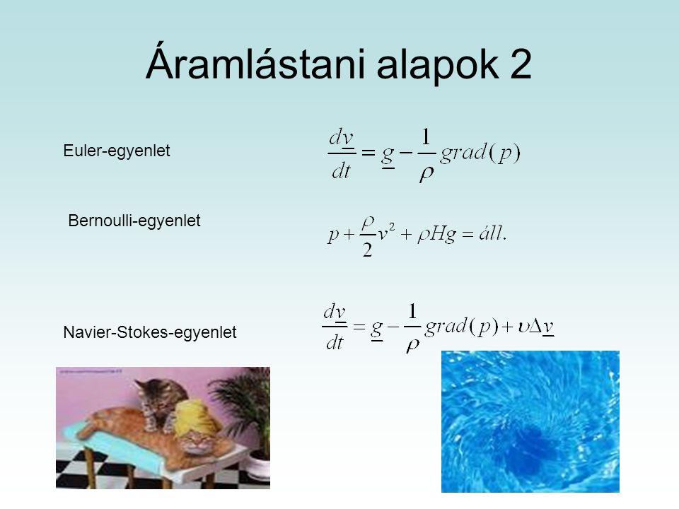 Áramlástani alapok 2 Euler-egyenlet Bernoulli-egyenlet Navier-Stokes-egyenlet