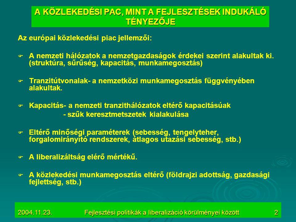 2004.11.23.Fejlesztési politikák a liberalizáció körülményei között2 A KÖZLEKEDÉSI PAC, MINT A FEJLESZTÉSEK INDUKÁLÓ TÉNYEZŐJE Az európai közlekedési
