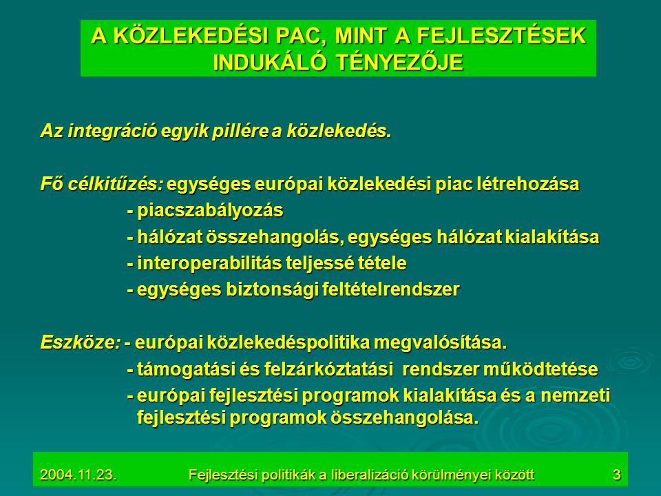 2004.11.23.Fejlesztési politikák a liberalizáció körülményei között3 A KÖZLEKEDÉSI PAC, MINT A FEJLESZTÉSEK INDUKÁLÓ TÉNYEZŐJE Az integráció egyik pil