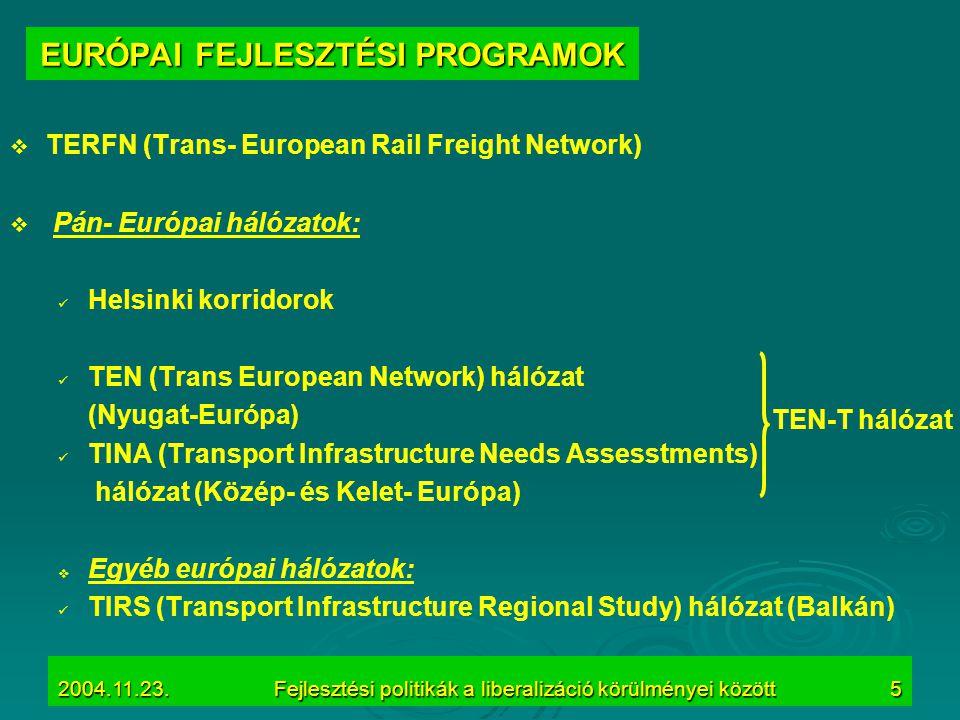 2004.11.23.Fejlesztési politikák a liberalizáció körülményei között5 EURÓPAI FEJLESZTÉSI PROGRAMOK   TERFN (Trans- European Rail Freight Network) 