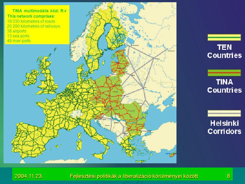 2004.11.23.Fejlesztési politikák a liberalizáció körülményei között8 TINA multimodális közl. R-r This network comprises: 18 030 kilometres of roads 20