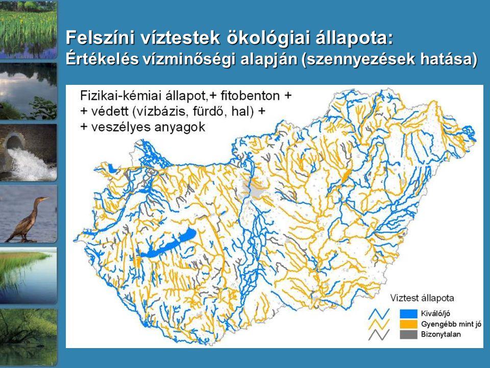 Felszíni víztestek ökológiai állapota: Értékelés vízminőségi alapján (szennyezések hatása)