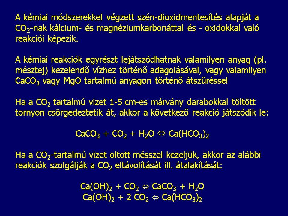 A kémiai módszerekkel végzett szén-dioxidmentesítés alapját a CO 2 -nak kálcium- és magnéziumkarbonáttal és - oxidokkal való reakciói képezik. A kémia