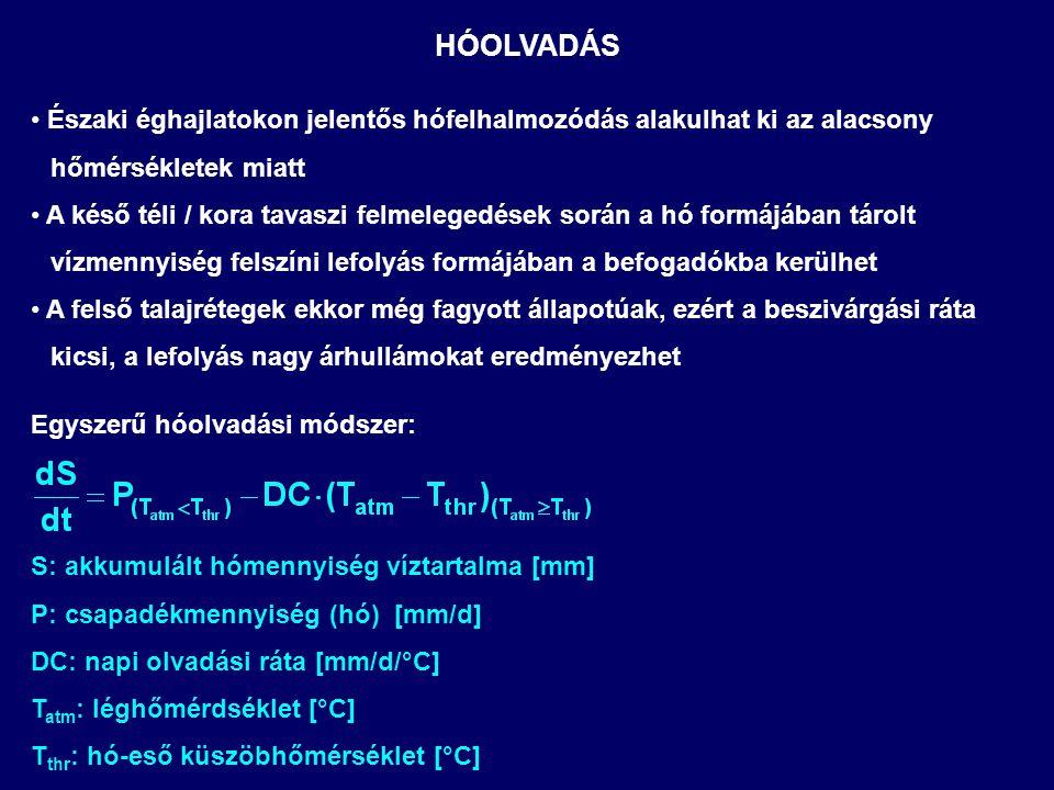 SZIVÁRGÁS A TALAJPROFILBÓL Utánpótlódás (dH/dz≈0) RG: talajvíz-utánpótlódás [mm] K s : telített hidraulikai vezetőképesség [mm/h] Θ akt : aktuális nedvességtartalom [mm] Θ res : maradék nedvességtartalom [mm] Θ s : porozitás [mm] B: pórusméret eloszlási index a talajban [-] Interflow: (dH/dz≈S) RI: laterális lefolyás [mm] D : talajprofil mélysége [m] S: lejtés [-[ W: lejtőszakasz hossza [m] c s : talajtípustól függő paraméter [-] (Θ akt -Θ res )/(Θ s -Θ res ) K akt /K s 1.0 0.5 1.0 HOMOK VÁLYOG AGYAG