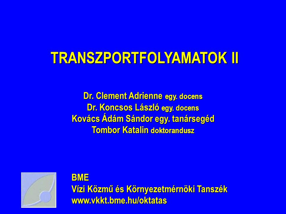 TRANSZPORTFOLYAMATOK II TRANSZPORTFOLYAMATOK II Dr.