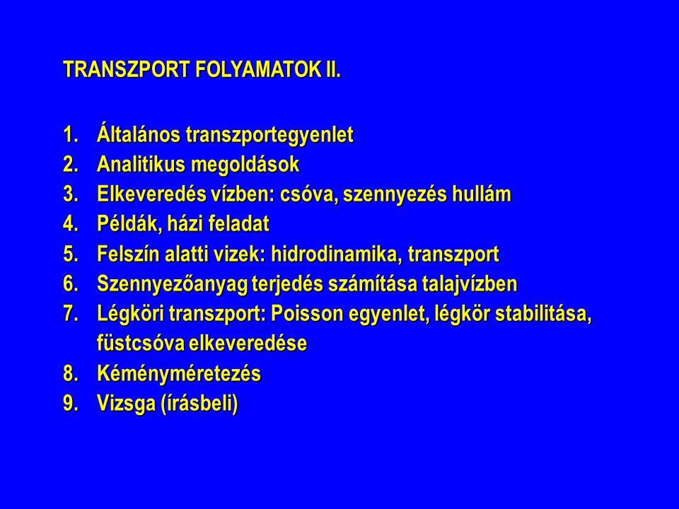 TRANSZPORT FOLYAMATOK II. 1.Általános transzportegyenlet 2.Analitikus megoldások 3.Elkeveredés vízben: csóva, szennyezés hullám 4.Példák, házi feladat