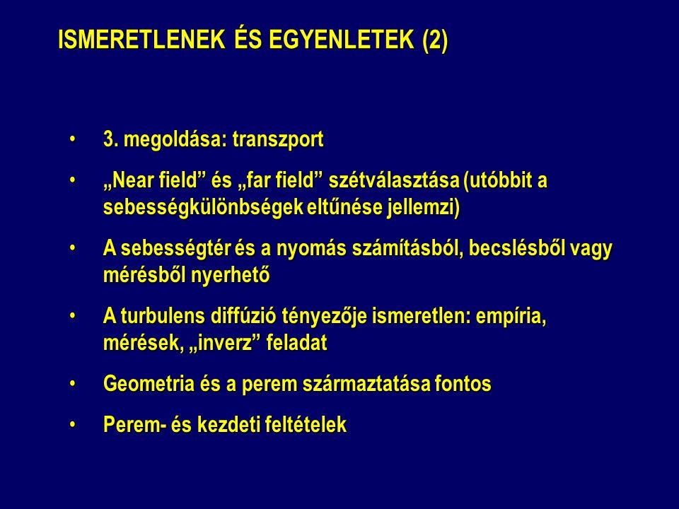 """ISMERETLENEK ÉS EGYENLETEK (2) 3. megoldása: transzport 3. megoldása: transzport """"Near field"""" és """"far field"""" szétválasztása (utóbbit a sebességkülönbs"""
