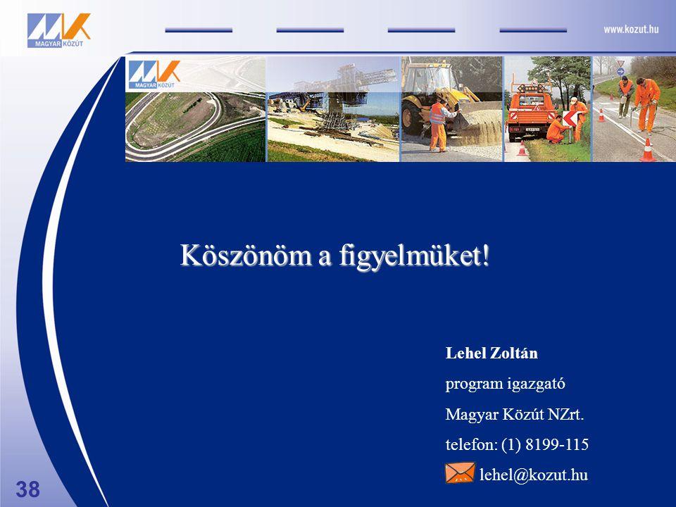 Lehel Zoltán program igazgató Magyar Közút NZrt. telefon: (1) 8199-115 lehel@kozut.hu Köszönöm a figyelmüket! 38