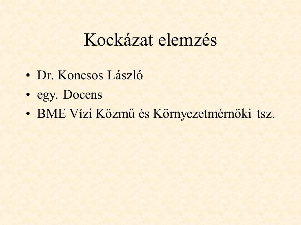 Kockázat elemzés Dr. Koncsos László egy. Docens BME Vízi Közmű és Környezetmérnöki tsz.