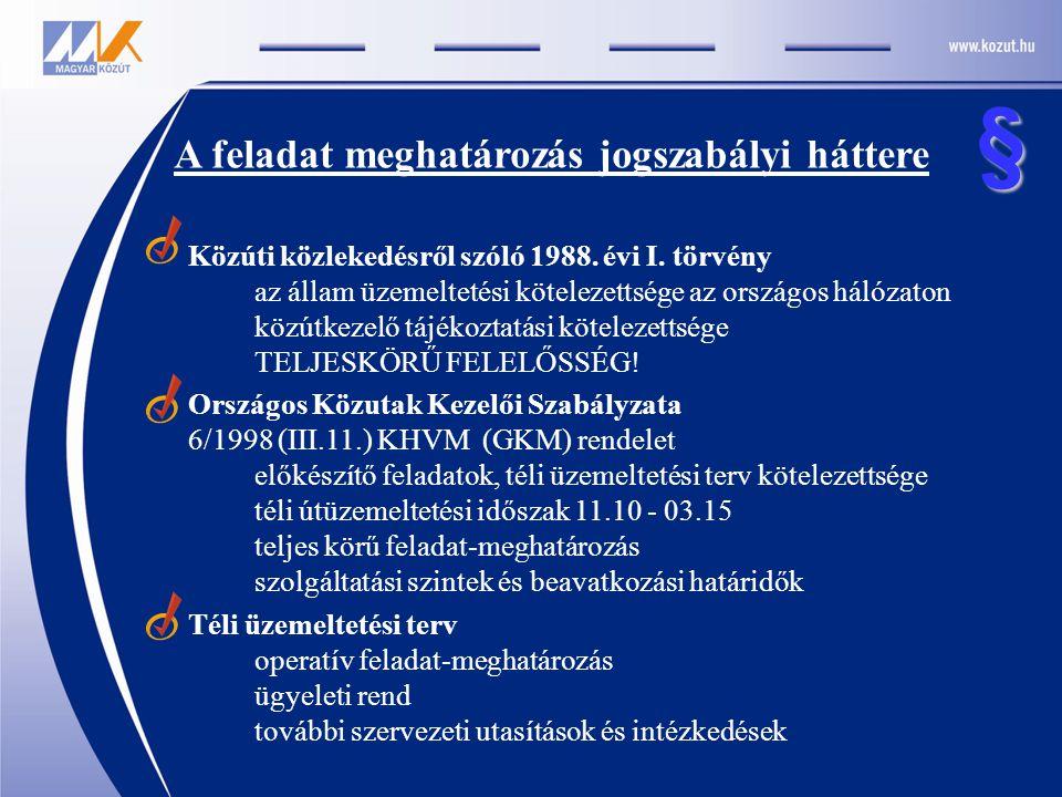 A feladat meghatározás jogszabályi háttere Közúti közlekedésről szóló 1988. évi I. törvény az állam üzemeltetési kötelezettsége az országos hálózaton