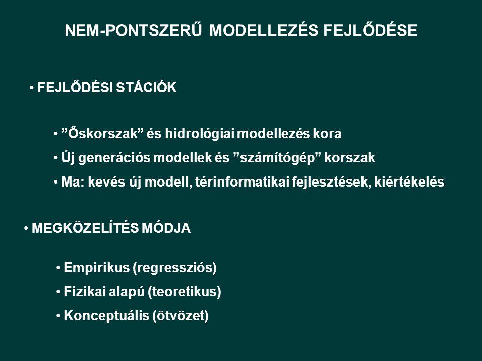 NEM-PONTSZERŰ MODELLEZÉS FEJLŐDÉSE Őskorszak és hidrológiai modellezés kora Új generációs modellek és számítógép korszak Ma: kevés új modell, térinformatikai fejlesztések, kiértékelés FEJLŐDÉSI STÁCIÓK Empirikus (regressziós) Fizikai alapú (teoretikus) Konceptuális (ötvözet) MEGKÖZELÍTÉS MÓDJA