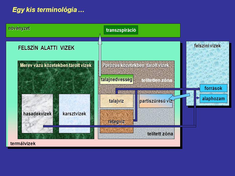 FELSZÍN ALATTI VIZEK felszíni vizek növényzet Merev vázú közetekben tárolt vizek hasadékvizekkarsztvizek Porózus kőzetekben tárolt vizek rétegvíz talajvíz partiszűrésű víz talajnedvesség telített zóna telítetlen zóna források alaphozam transzspiráció termálvizek Egy kis terminológia …