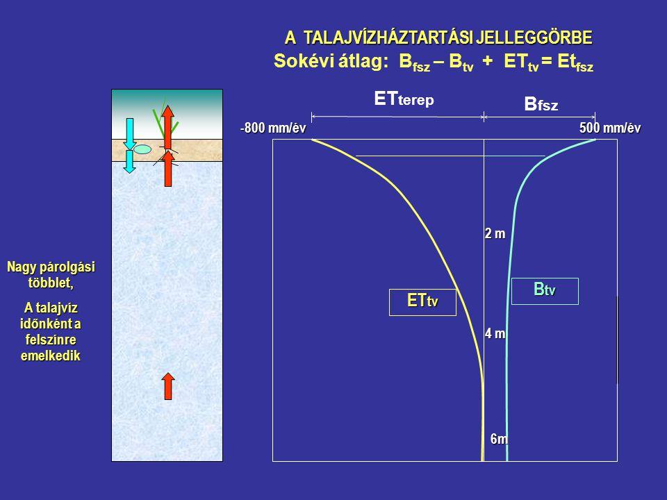 A TALAJVÍZHÁZTARTÁSI JELLEGGÖRBE Nagy párolgási többlet, A talajvíz időnként a felszínre emelkedik Sokévi átlag: B fsz – B tv + ET tv = Et fsz B tv ET tv 500 mm/év B fsz ET terep -800 mm/év 2 m 4 m 6m