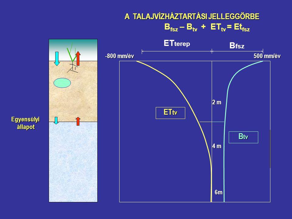 A TALAJVÍZHÁZTARTÁSI JELLEGGÖRBE B fsz ET terep B fsz – B tv + ET tv = Et fsz B tv ET tv Egyensúlyi állapot állapot 500 mm/év -800 mm/év 2 m 4 m 6m
