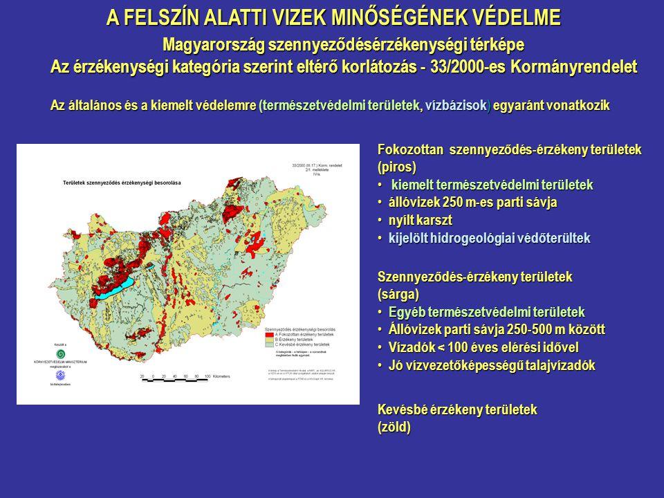 A FELSZÍN ALATTI VIZEK MINŐSÉGÉNEK VÉDELME Magyarország szennyeződésérzékenységi térképe Az érzékenységi kategória szerint eltérő korlátozás - 33/2000-es Kormányrendelet Fokozottan szennyeződés-érzékeny területek (piros) kiemelt természetvédelmi területek kiemelt természetvédelmi területek állóvizek 250 m-es parti sávja állóvizek 250 m-es parti sávja nyílt karszt nyílt karszt kijelölt hidrogeológiai védőterültek kijelölt hidrogeológiai védőterültek Szennyeződés-érzékeny területek (sárga) Egyéb természetvédelmi területek Egyéb természetvédelmi területek Állóvizek parti sávja 250-500 m között Állóvizek parti sávja 250-500 m között Vízadók < 100 éves elérési idővel Vízadók < 100 éves elérési idővel Jó vízvezetőképességű talajvízadók Jó vízvezetőképességű talajvízadók Kevésbé érzékeny területek (zöld) Az általános és a kiemelt védelemre (természetvédelmi területek, vízbázisok) egyaránt vonatkozik