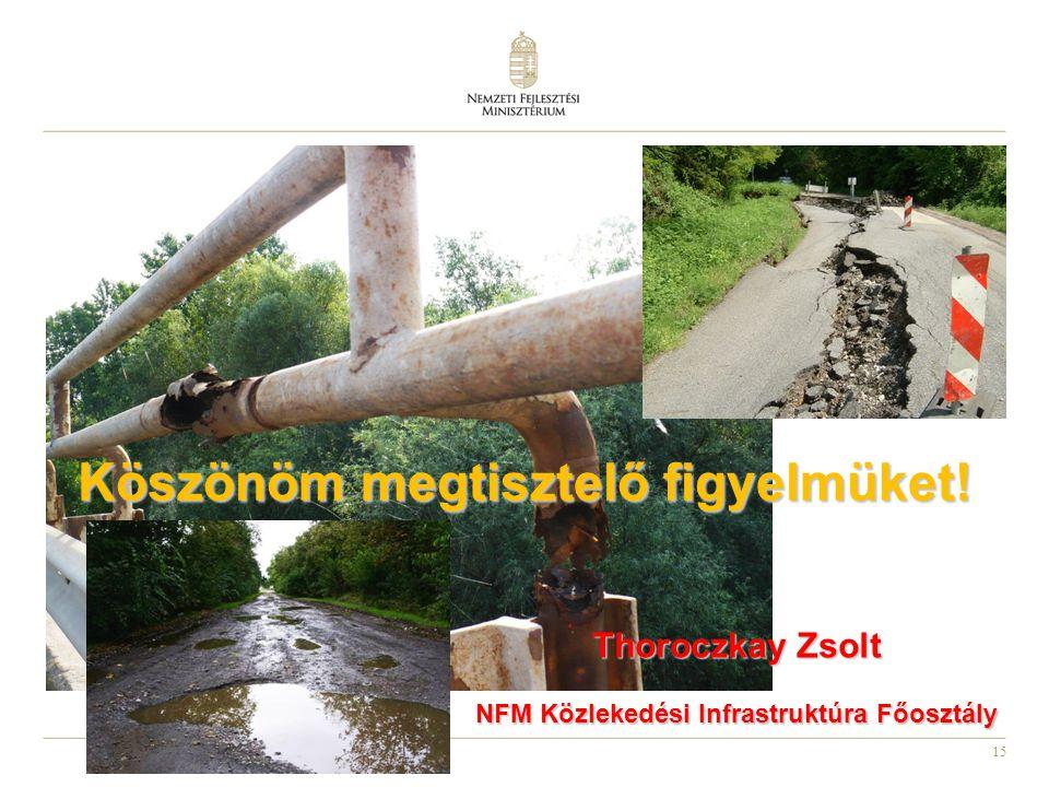 15 Köszönöm megtisztelő figyelmüket! Thoroczkay Zsolt NFM Közlekedési Infrastruktúra Főosztály