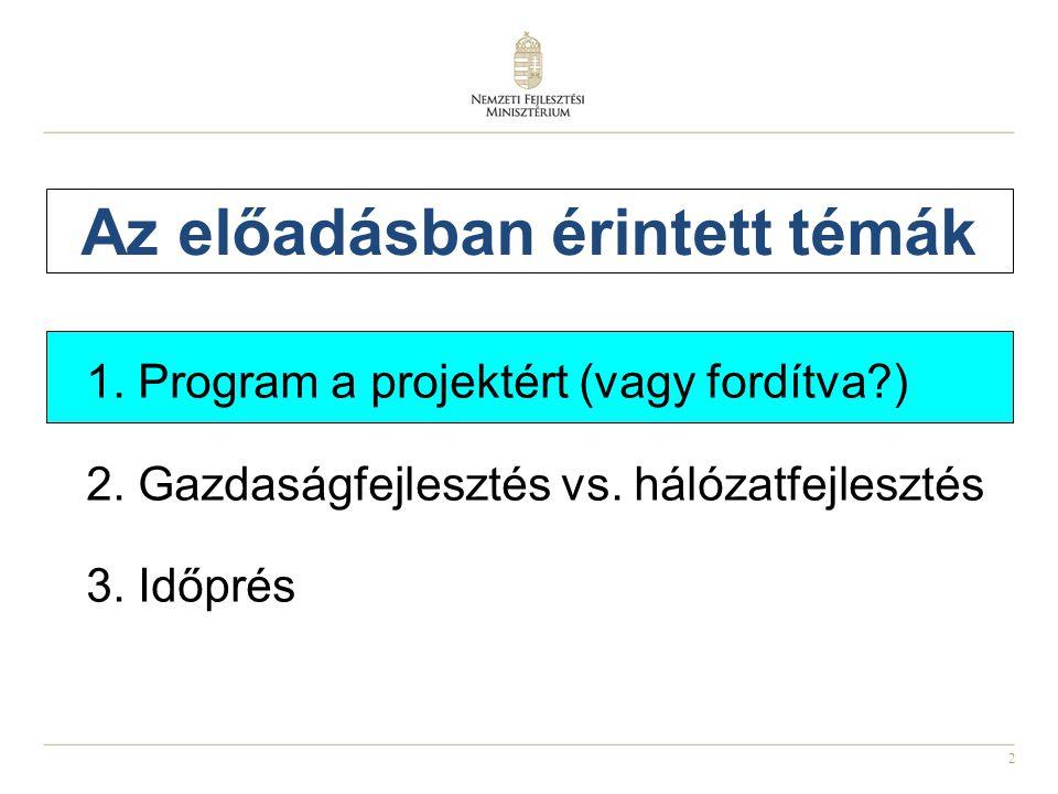 2 Az előadásban érintett témák 1. Program a projektért (vagy fordítva?) 2. Gazdaságfejlesztés vs. hálózatfejlesztés 3. Időprés