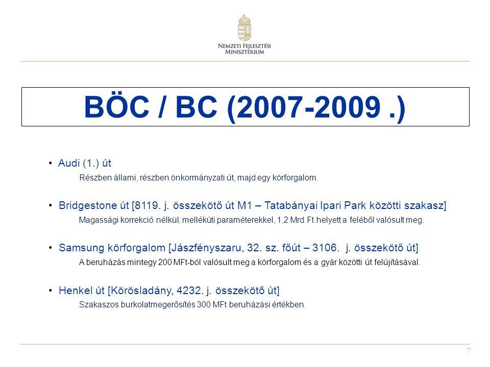 7 BÖC / BC (2007-2009.) Audi (1.) út Részben állami, részben önkormányzati út, majd egy körforgalom. Bridgestone út [8119. j. összekötő út M1 – Tatabá