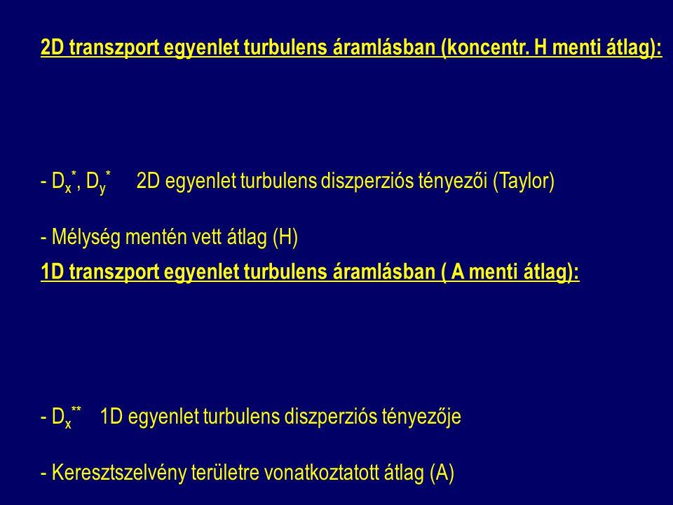 2D transzport egyenlet turbulens áramlásban (koncentr. H menti átlag): - D x *, D y * 2D egyenlet turbulens diszperziós tényezői (Taylor) - Mélység me