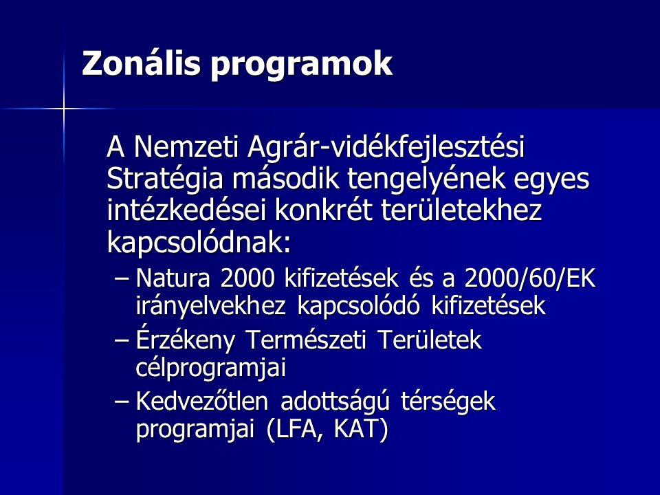 Zonális programok A Nemzeti Agrár-vidékfejlesztési Stratégia második tengelyének egyes intézkedései konkrét területekhez kapcsolódnak: –Natura 2000 ki