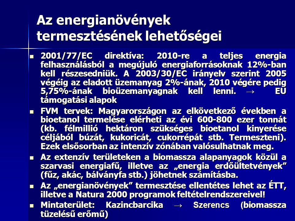 Az energianövények termesztésének lehetőségei 2001/77/EC direktíva: 2010-re a teljes energia felhasználásból a megújuló energiaforrásoknak 12%-ban kel