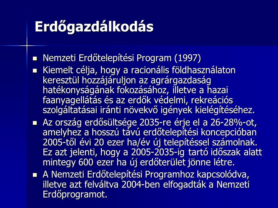 Erdőgazdálkodás Nemzeti Erdőtelepítési Program (1997) Nemzeti Erdőtelepítési Program (1997) Kiemelt célja, hogy a racionális földhasználaton keresztül