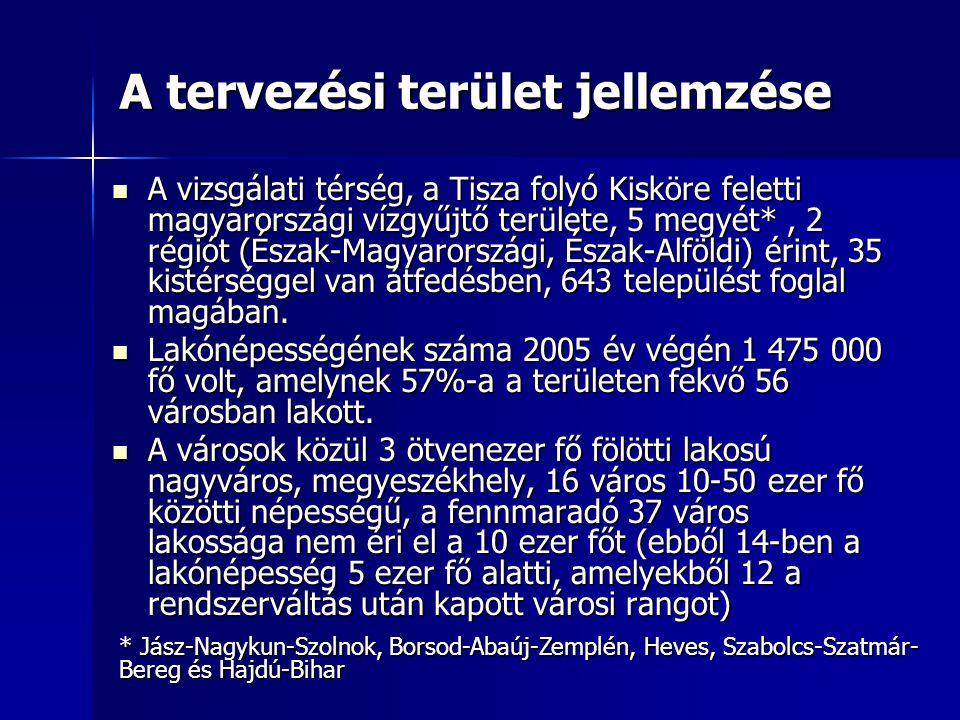 A tervezési terület jellemzése A vizsgálati térség, a Tisza folyó Kisköre feletti magyarországi vízgyűjtő területe, 5 megyét*, 2 régiót (Észak-Magyaro