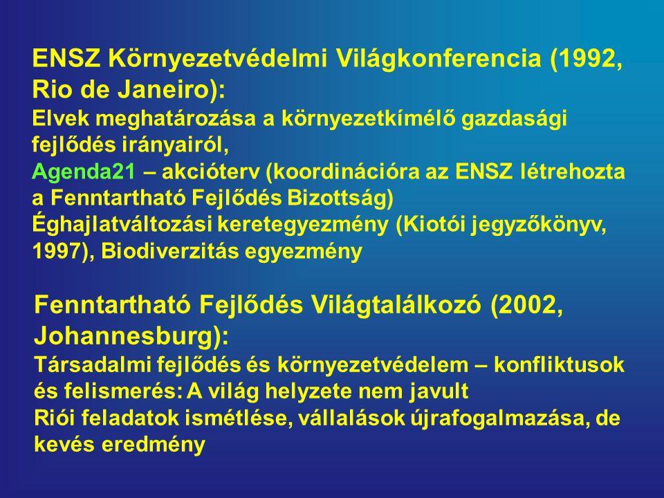 ENSZ Környezetvédelmi Világkonferencia (1992, Rio de Janeiro): Elvek meghatározása a környezetkímélő gazdasági fejlődés irányairól, Agenda21 – akcióterv (koordinációra az ENSZ létrehozta a Fenntartható Fejlődés Bizottság) Éghajlatváltozási keretegyezmény (Kiotói jegyzőkönyv, 1997), Biodiverzitás egyezmény Fenntartható Fejlődés Világtalálkozó (2002, Johannesburg): Társadalmi fejlődés és környezetvédelem – konfliktusok és felismerés: A világ helyzete nem javult Riói feladatok ismétlése, vállalások újrafogalmazása, de kevés eredmény