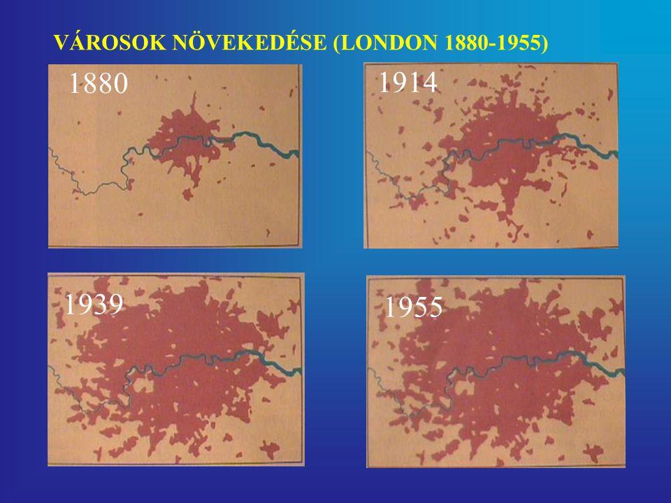 1880 1914 1939 1955 VÁROSOK NÖVEKEDÉSE (LONDON 1880-1955)