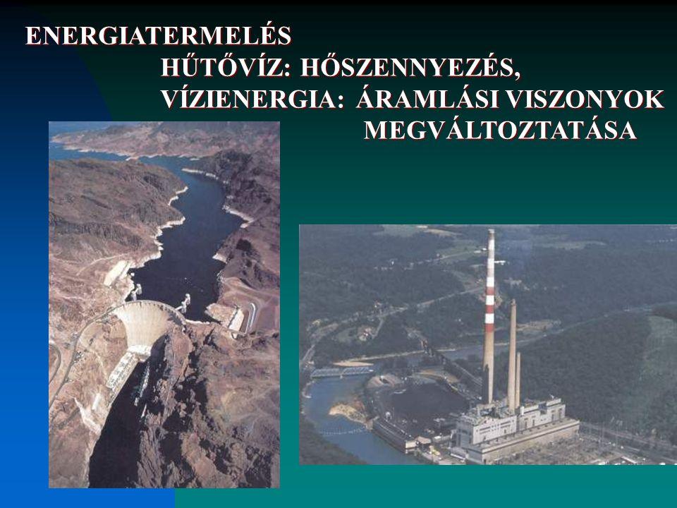 ENERGIATERMELÉS HŰTŐVÍZ: HŐSZENNYEZÉS, VÍZIENERGIA: ÁRAMLÁSI VISZONYOK MEGVÁLTOZTATÁSA HŰTŐVÍZ: HŐSZENNYEZÉS, VÍZIENERGIA: ÁRAMLÁSI VISZONYOK MEGVÁLTO