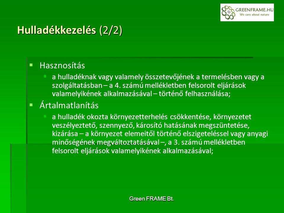 Green FRAME Bt. Hulladékkezelés (2/2)   Hasznosítás   a hulladéknak vagy valamely összetevőjének a termelésben vagy a szolgáltatásban – a 4. számú
