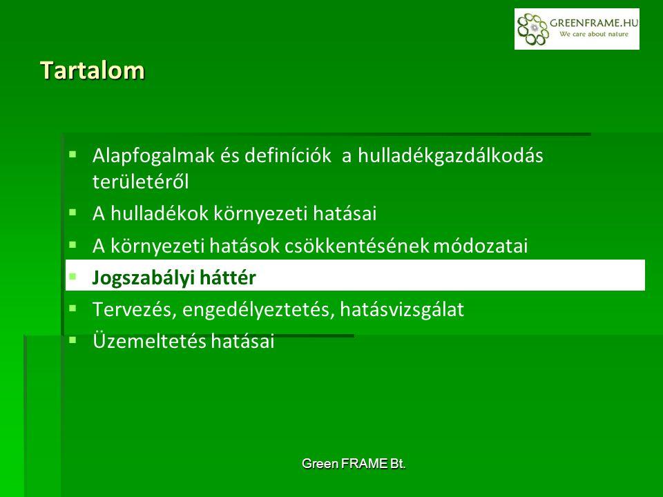 Green FRAME Bt. Tartalom   Alapfogalmak és definíciók a hulladékgazdálkodás területéről   A hulladékok környezeti hatásai   A környezeti hatások