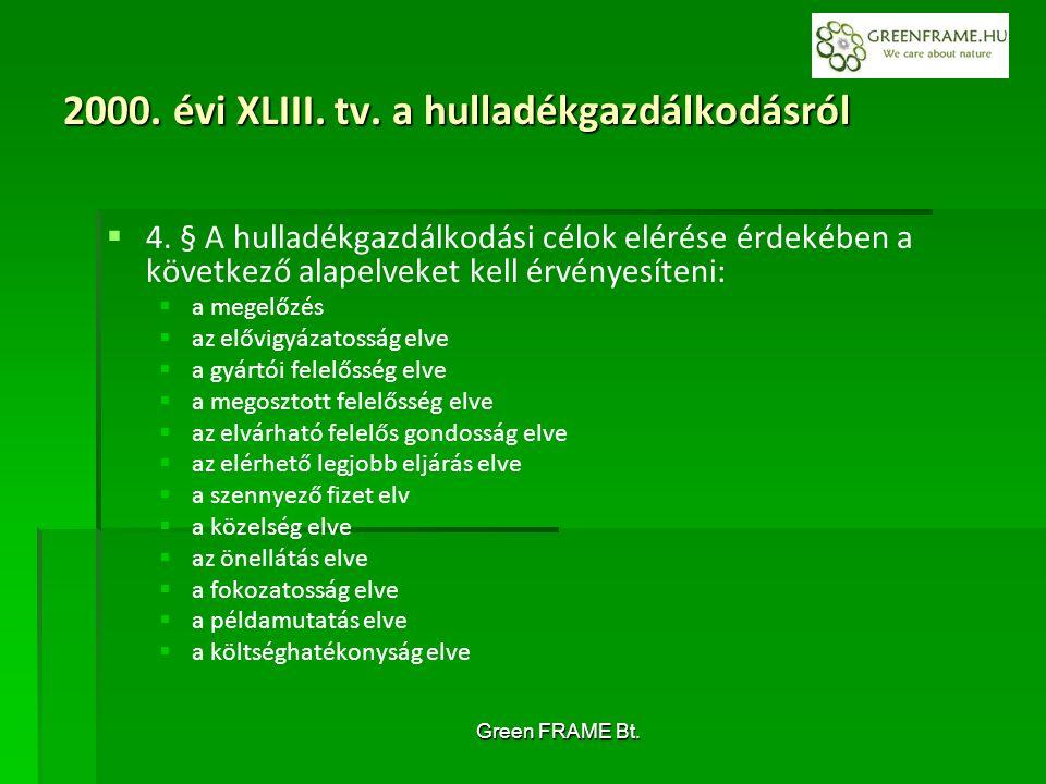 Green FRAME Bt. 2000. évi XLIII. tv. a hulladékgazdálkodásról   4.