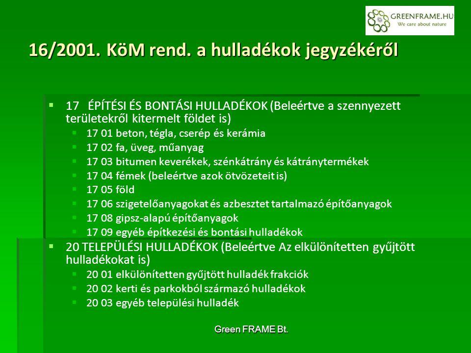 Green FRAME Bt. 16/2001. KöM rend.