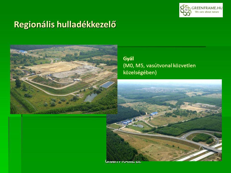 Green FRAME Bt. Gyál (M0, M5, vasútvonal közvetlen közelségében) Regionális hulladékkezelő