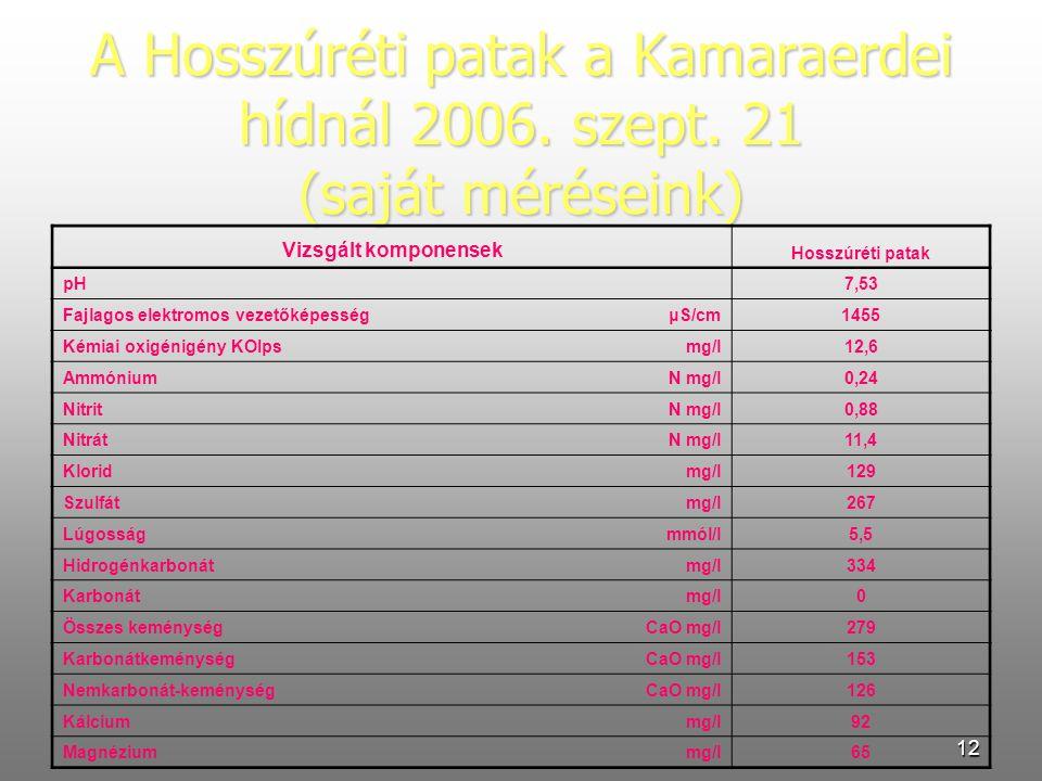 12 A Hosszúréti patak a Kamaraerdei hídnál 2006. szept. 21 (saját méréseink) Vizsgált komponensek Hosszúréti patak pH 7,53 Fajlagos elektromos vezetők