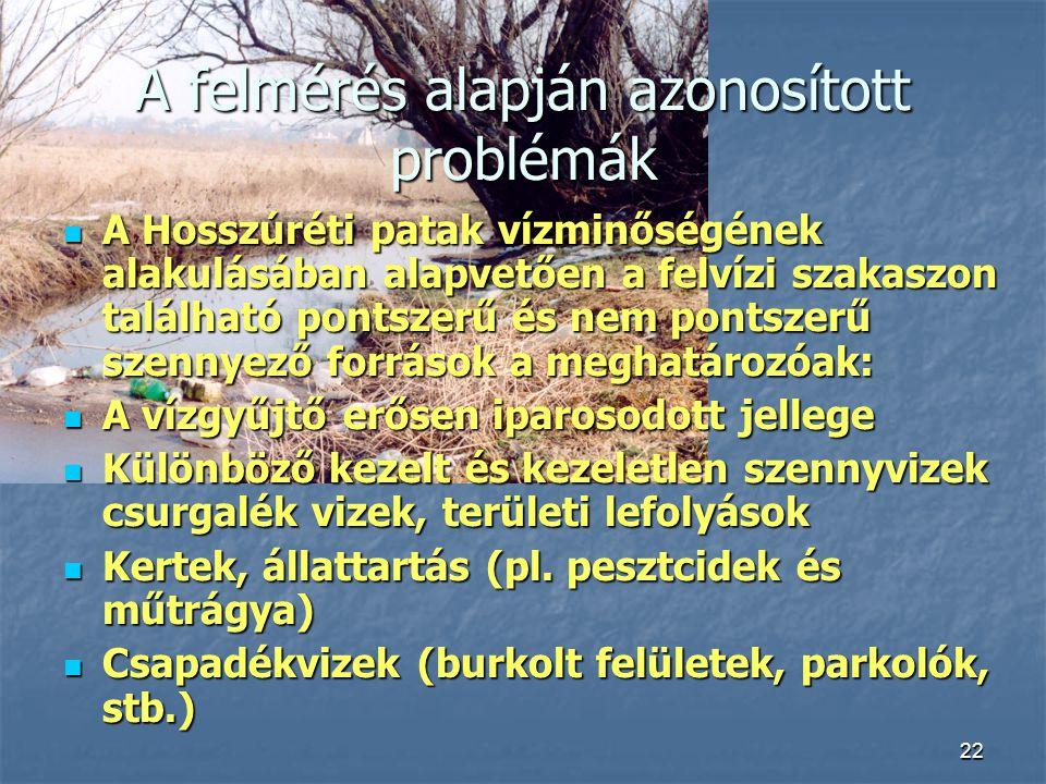 22 A felmérés alapján azonosított problémák A Hosszúréti patak vízminőségének alakulásában alapvetően a felvízi szakaszon található pontszerű és nem p