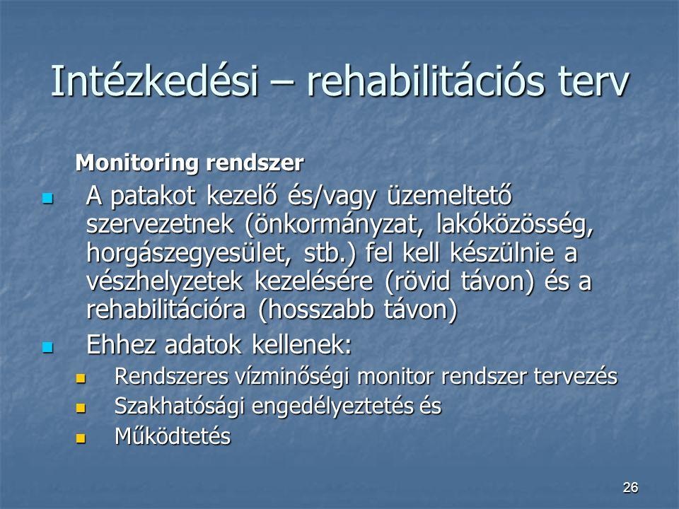 26 Intézkedési – rehabilitációs terv Monitoring rendszer A patakot kezelő és/vagy üzemeltető szervezetnek (önkormányzat, lakóközösség, horgászegyesüle