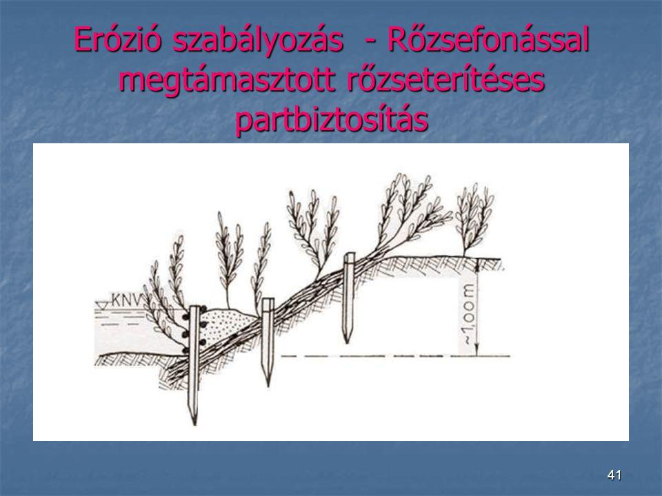41 Erózió szabályozás - Rőzsefonással megtámasztott rőzseterítéses partbiztosítás
